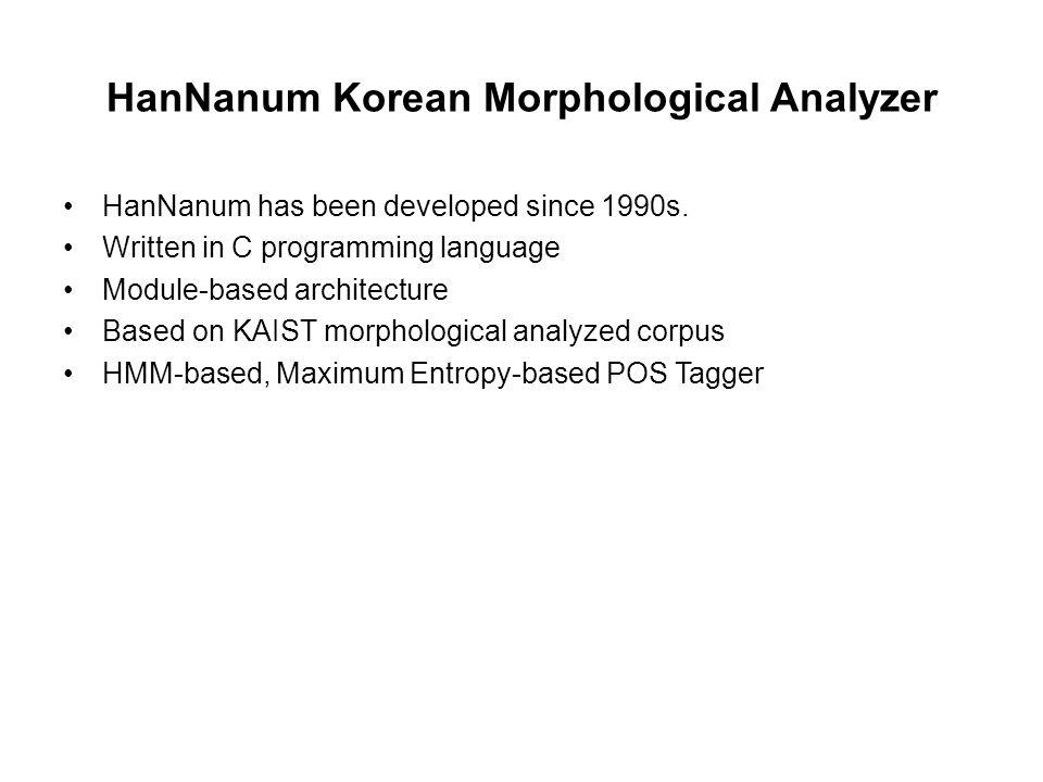 HanNanum Korean Morphological Analyzer HanNanum has been developed since 1990s. Written in C programming language Module-based architecture Based on K