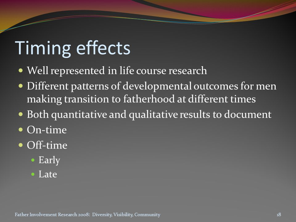 Timing effects Well represented in life course research Different patterns of developmental outcomes for men making transition to fatherhood at different times Both quantitative and qualitative results to document On-time Off-time Early Late Father Involvement Research 2008: Diversity, Visibility, Community18