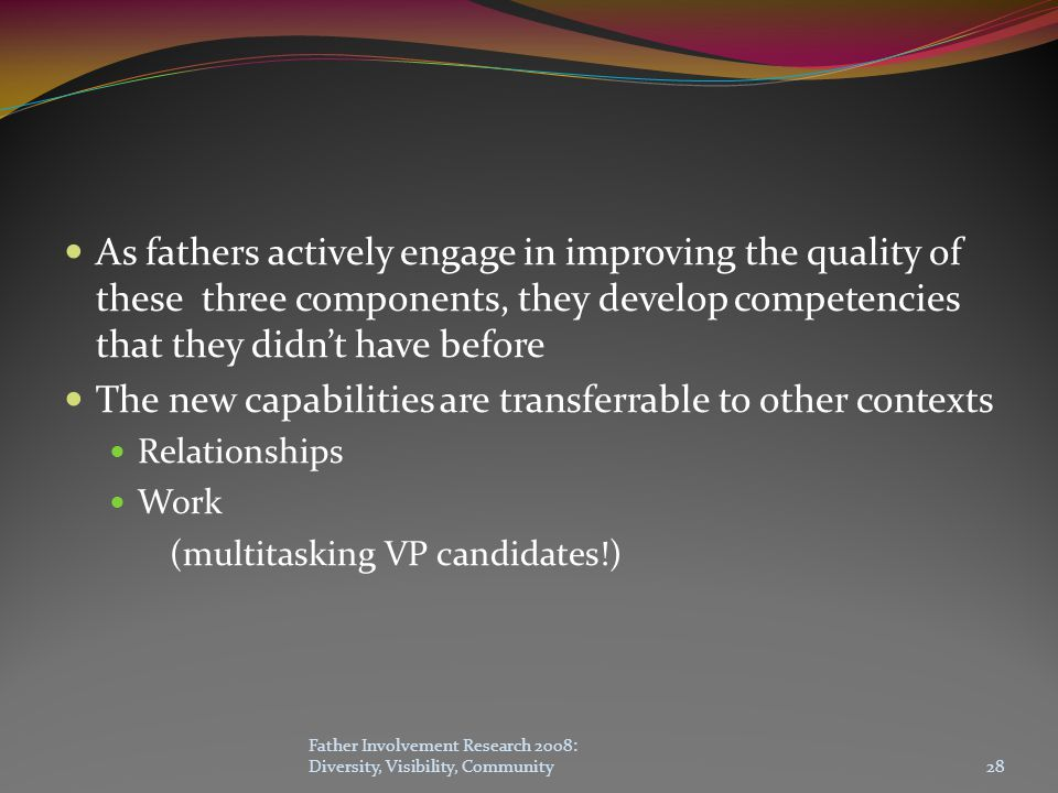 As fathers actively engage in improving the quality of these three components, they develop competencies that they didn't have before The new capabilities are transferrable to other contexts Relationships Work (multitasking VP candidates!) Father Involvement Research 2008: Diversity, Visibility, Community28
