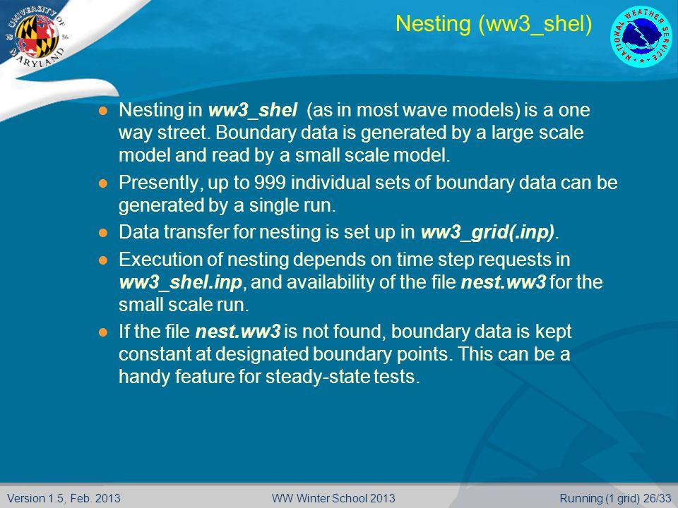 Version 1.5, Feb. 2013Running (1 grid) 26/33WW Winter School 2013 Nesting (ww3_shel) Nesting in ww3_shel (as in most wave models) is a one way street.
