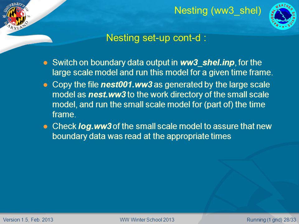Version 1.5, Feb. 2013Running (1 grid) 28/33WW Winter School 2013 Nesting (ww3_shel)  Nesting set-up cont-d : Switch on boundary data output in ww3_s