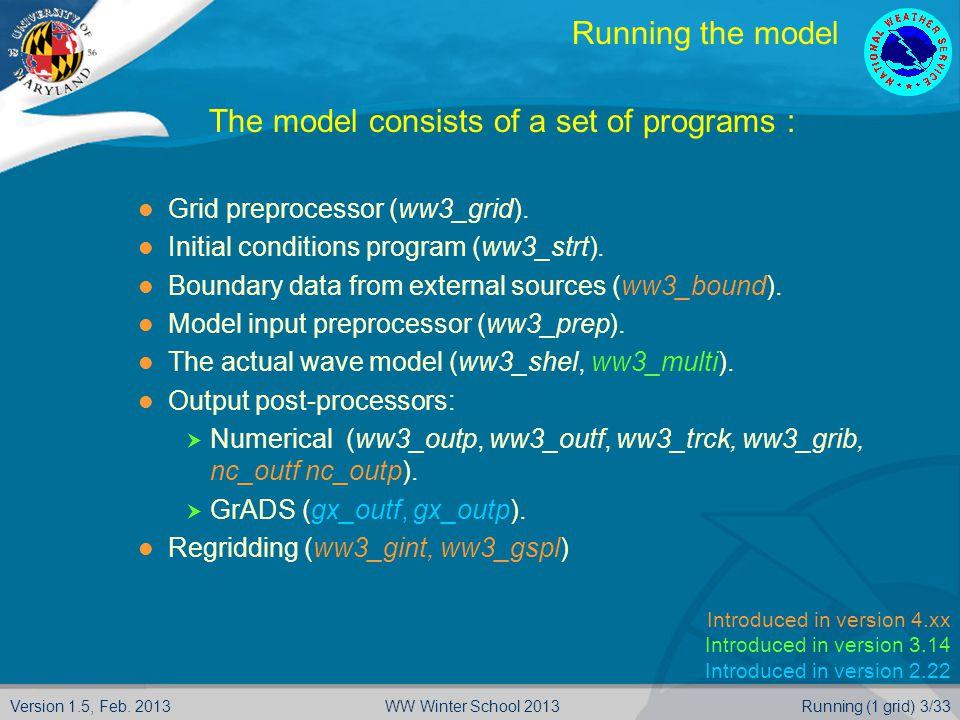 Version 1.5, Feb. 2013Running (1 grid) 3/33WW Winter School 2013 Running the model  The model consists of a set of programs : Grid preprocessor (ww3_