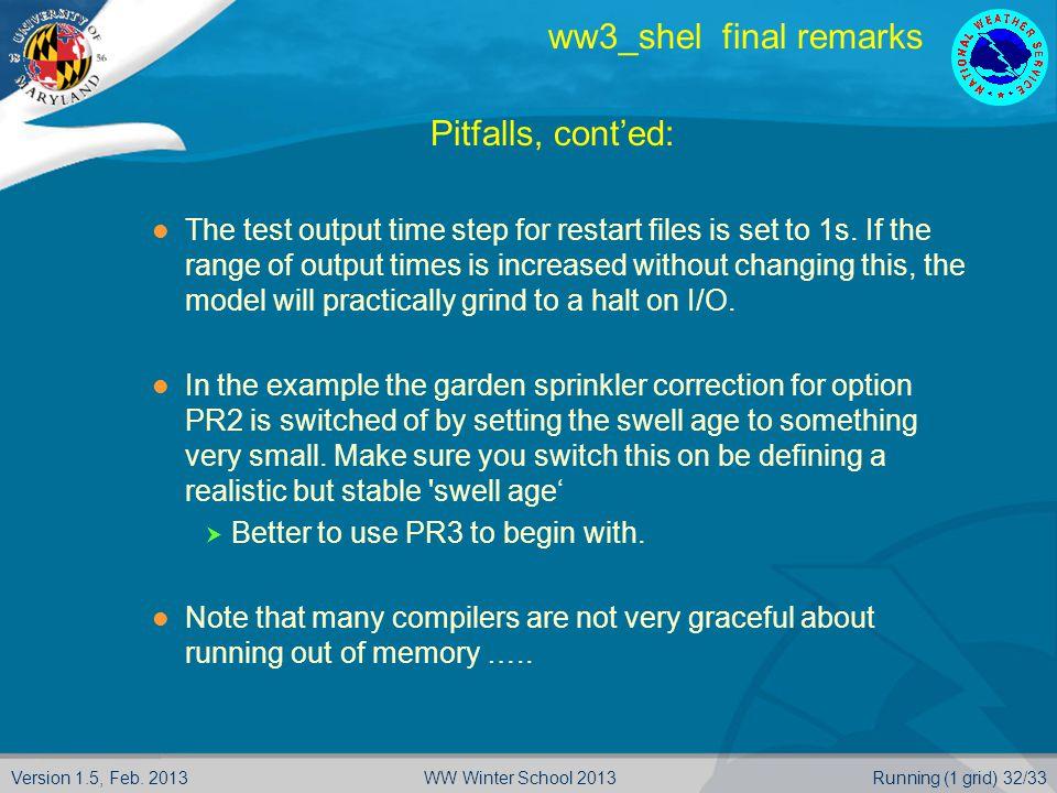 Version 1.5, Feb. 2013Running (1 grid) 32/33WW Winter School 2013 ww3_shel final remarks  Pitfalls, cont'ed: The test output time step for restart fi