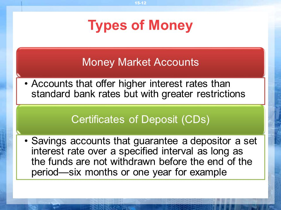 Types of Money 15-12 Money Market Accounts Accounts that offer higher interest rates than standard bank rates but with greater restrictions Certificat