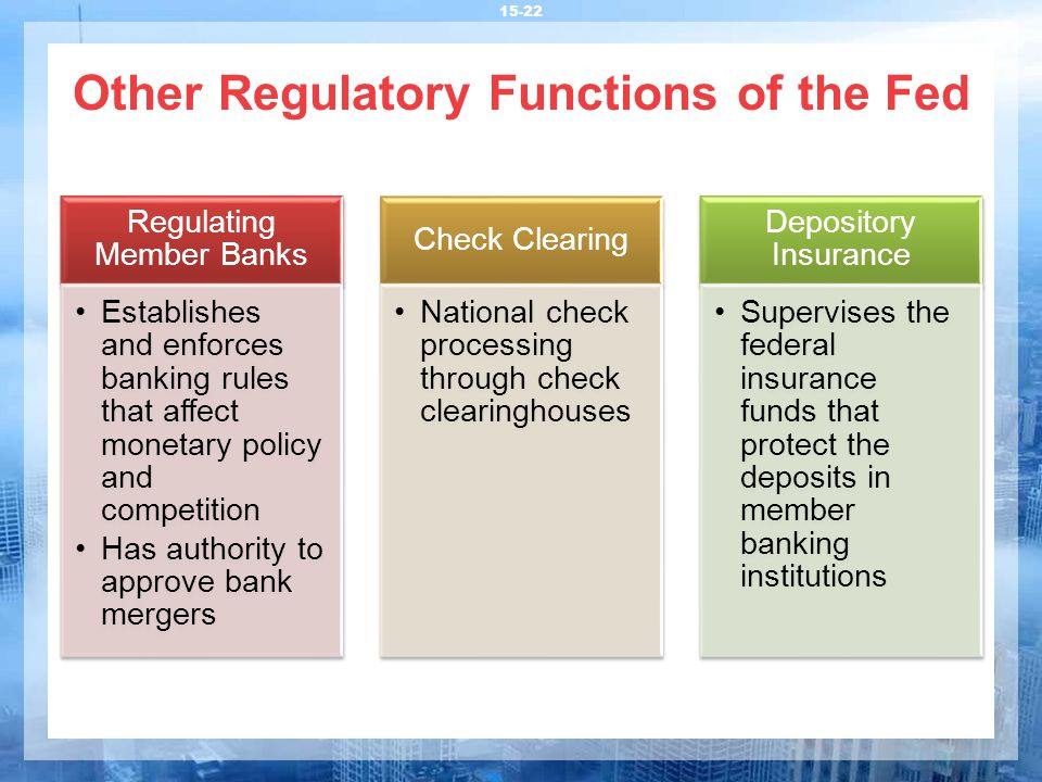 Other Regulatory Functions of the Fed 15-22 Regulating Member Banks Establishes and enforces banking rules that affect monetary policy and competition
