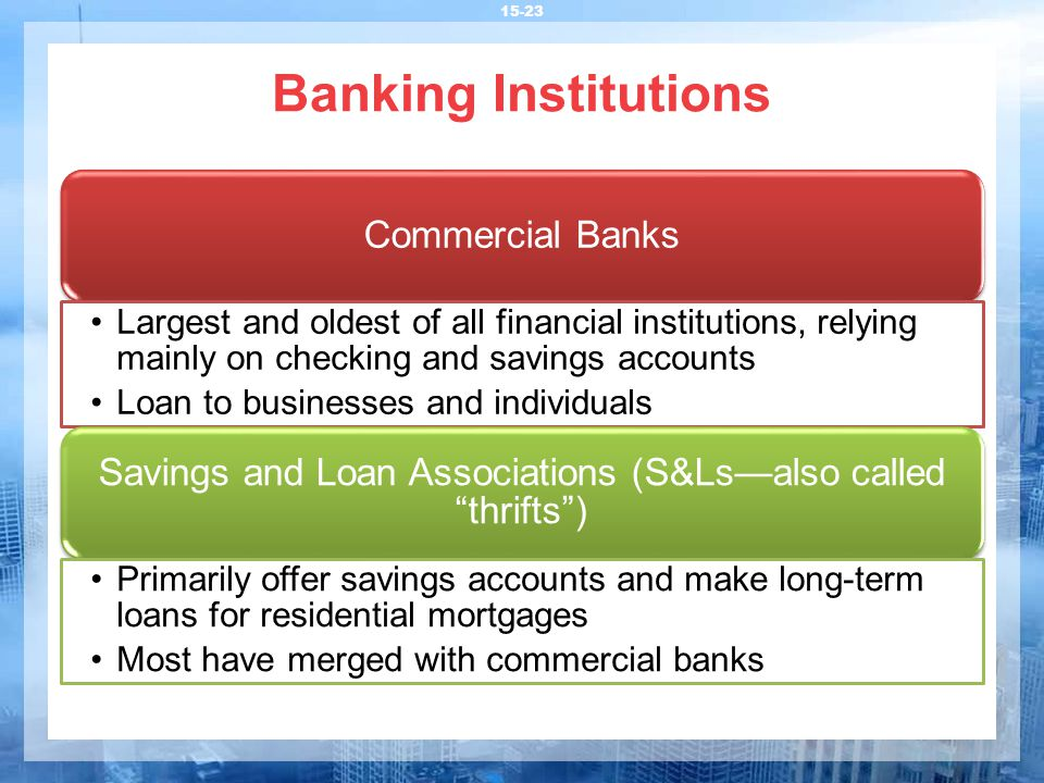 Banking Institutions 15-23 Commercial Banks Largest and oldest of all financial institutions, relying mainly on checking and savings accounts Loan to businesses and individuals Savings and Loan Associations (S&Ls—also called thrifts ) Primarily offer savings accounts and make long-term loans for residential mortgages Most have merged with commercial banks