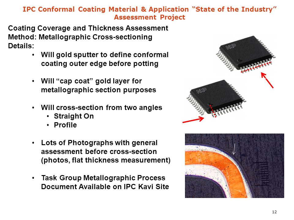 "IPC Conformal Coating Material & Application ""State of the Industry"" Assessment Project Coating Coverage and Thickness Assessment Method: Metallograph"