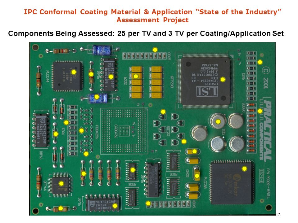 "IPC Conformal Coating Material & Application ""State of the Industry"" Assessment Project Components Being Assessed: 25 per TV and 3 TV per Coating/Appl"