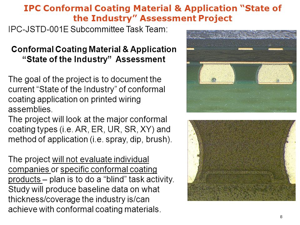 "IPC Conformal Coating Material & Application ""State of the Industry"" Assessment Project IPC-JSTD-001E Subcommittee Task Team: Conformal Coating Materi"