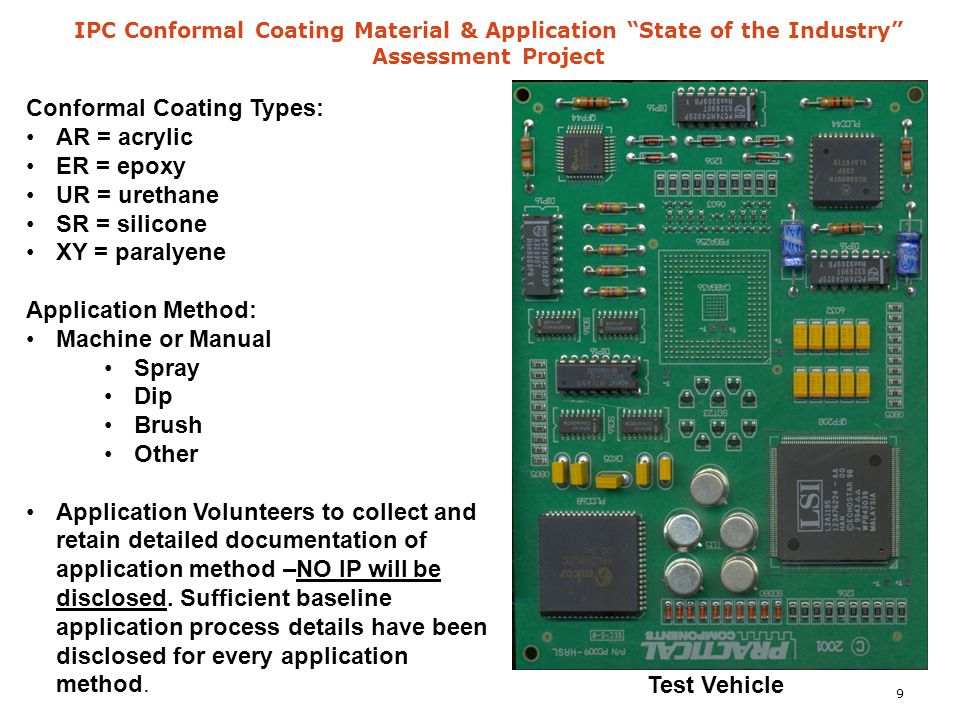 "IPC Conformal Coating Material & Application ""State of the Industry"" Assessment Project Conformal Coating Types: AR = acrylic ER = epoxy UR = urethane"