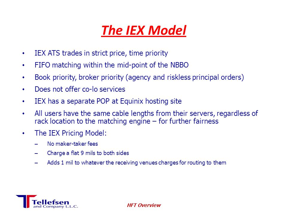 The IEX Model IEX ATS trades in strict price, time priority FIFO matching within the mid-point of the NBBO Book priority, broker priority (agency and riskless principal orders) Does not offer co-lo services IEX has a separate POP at Equinix hosting site All users have the same cable lengths from their servers, regardless of rack location to the matching engine – for further fairness The IEX Pricing Model: – No maker-taker fees – Charge a flat 9 mils to both sides – Adds 1 mil to whatever the receiving venues charges for routing to them HFT Overview
