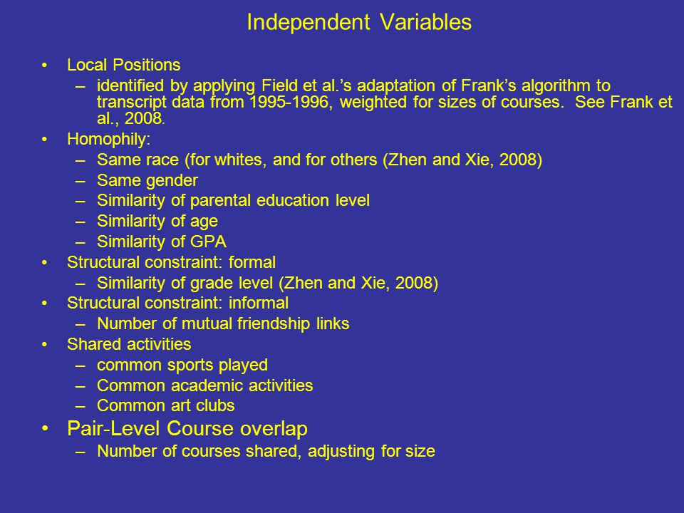 Independent Variables Local Positions –identified by applying Field et al.'s adaptation of Frank's algorithm to transcript data from 1995-1996, weighted for sizes of courses.
