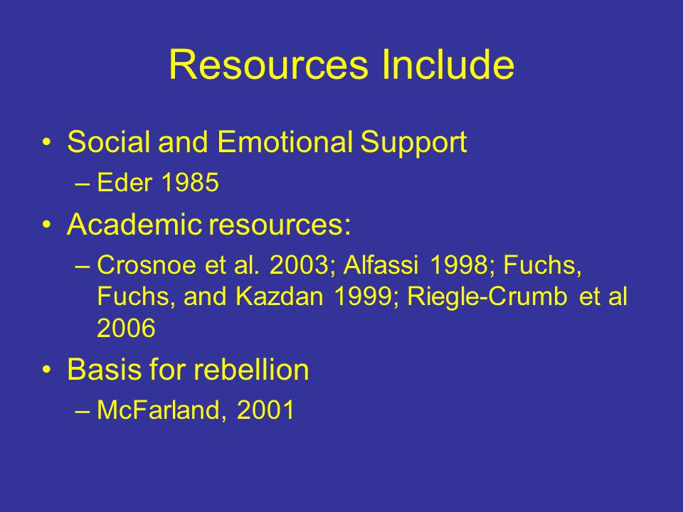 Resources Include Social and Emotional Support –Eder 1985 Academic resources: –Crosnoe et al.