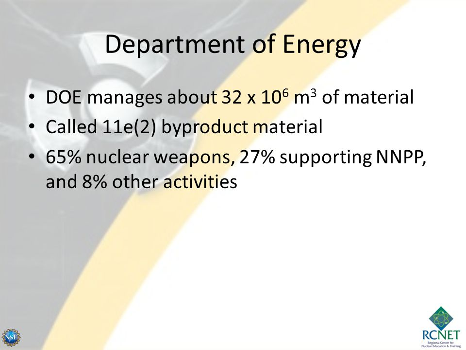 Department of Energy DOE manages about 32 x 10 6 m 3 of material Called 11e(2) byproduct material 65% nuclear weapons, 27% supporting NNPP, and 8% oth