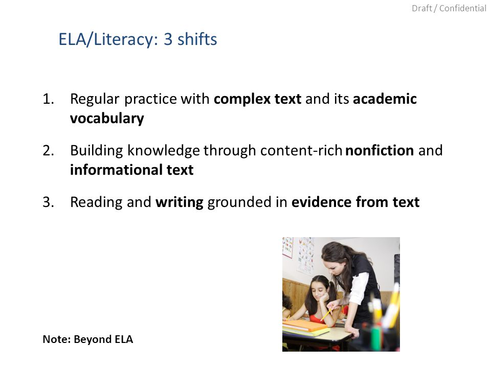 Draft / Confidential ELA/Literacy: 3 shifts 1.Regular practice with complex text and its academic vocabulary 2.Building knowledge through content-rich nonfiction and informational text 3.Reading and writing grounded in evidence from text Note: Beyond ELA