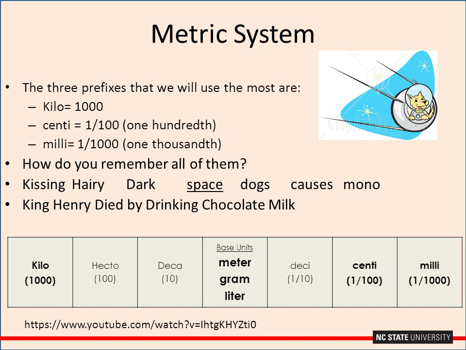 Metric System The three prefixes that we will use the most are: – Kilo= 1000 – centi = 1/100 (one hundredth) – milli= 1/1000 (one thousandth) How do y