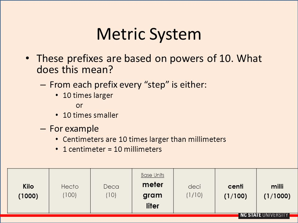 """Metric System These prefixes are based on powers of 10. What does this mean? – From each prefix every """"step"""" is either: 10 times larger or 10 times sm"""