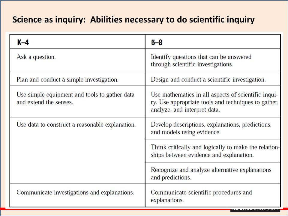 Science as inquiry: Abilities necessary to do scientific inquiry