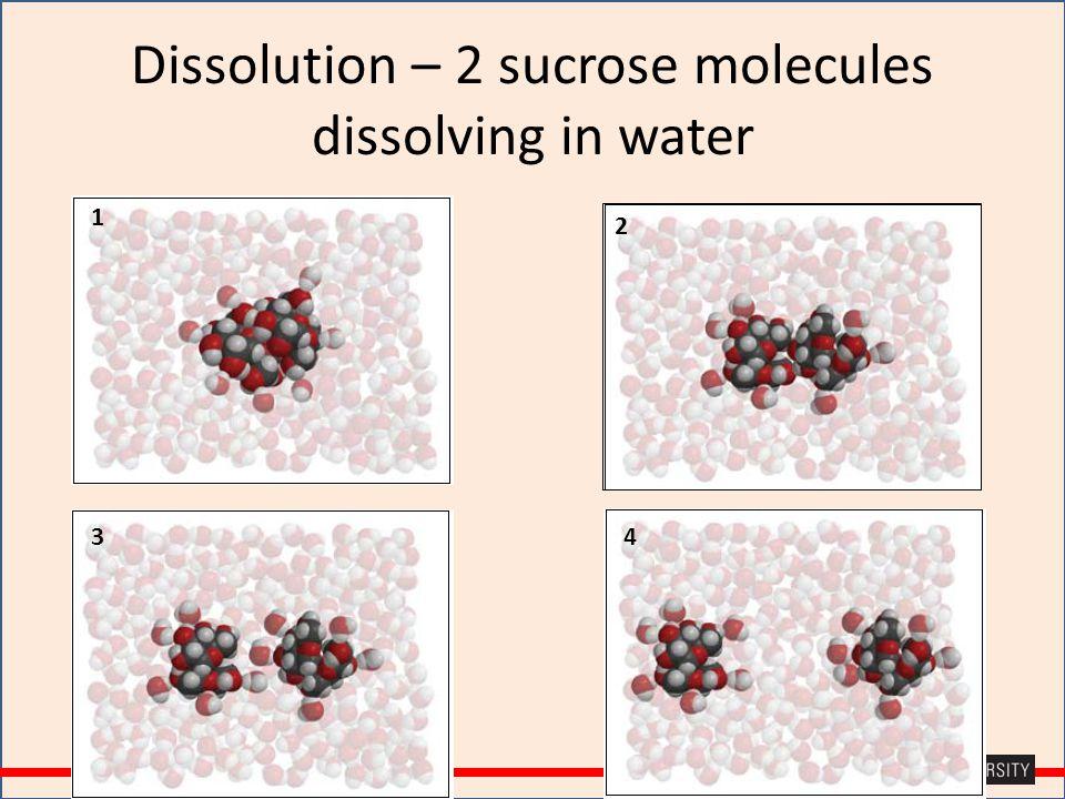 Dissolution – 2 sucrose molecules dissolving in water 1 2 34