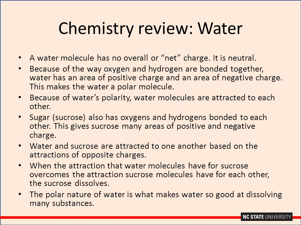 """Chemistry review: Water A water molecule has no overall or """"net"""" charge. It is neutral. Because of the way oxygen and hydrogen are bonded together, wa"""