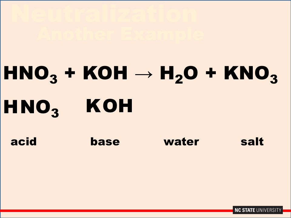 Neutralization Another Example HNO 3 + KOH → H 2 O + KNO 3 H OH K NO 3 acidbase water salt