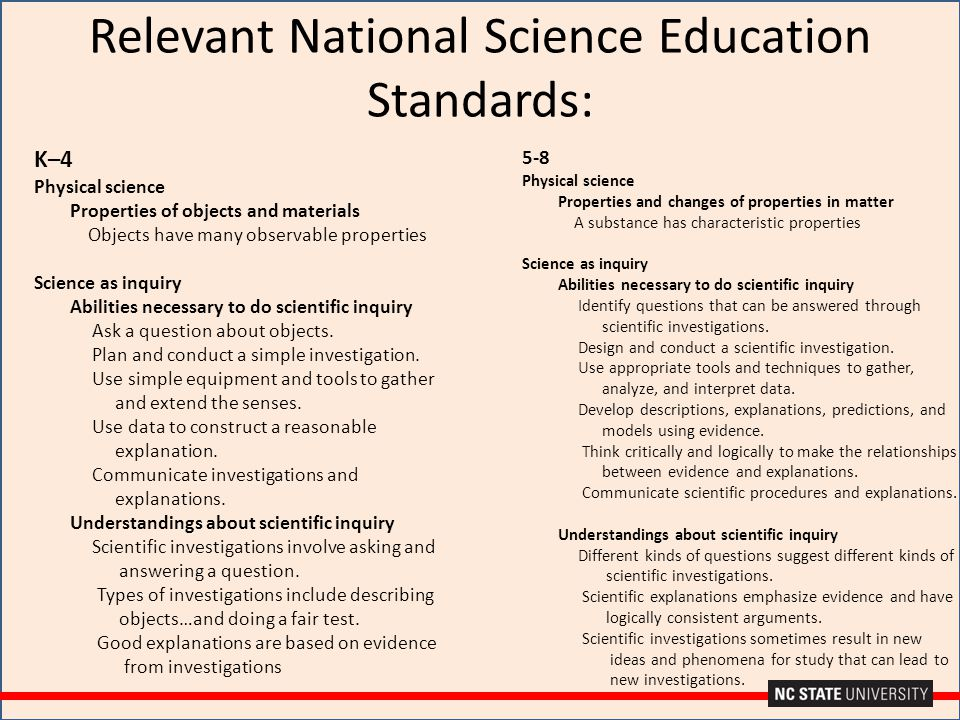 Relevant National Science Education Standards: K–4 Physical science Properties of objects and materials Objects have many observable properties Scienc