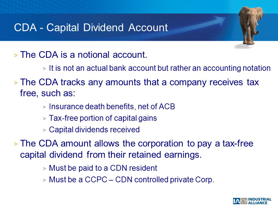 > The CDA is a notional account.