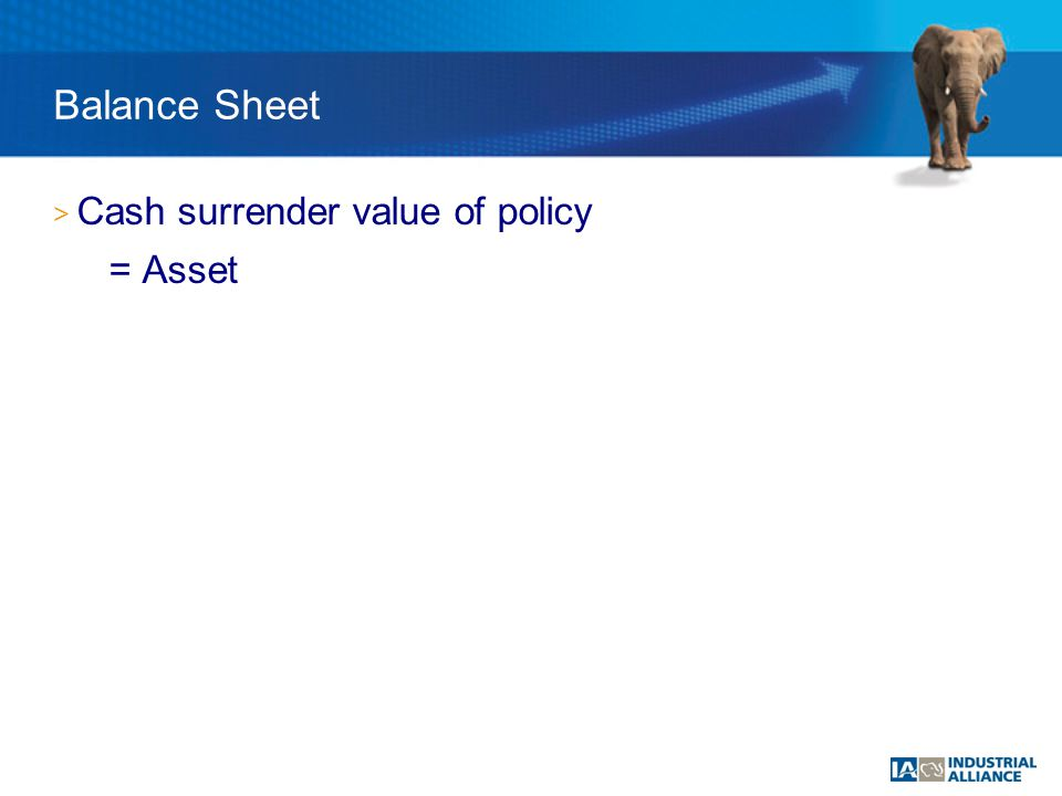 Balance Sheet > Cash surrender value of policy = Asset