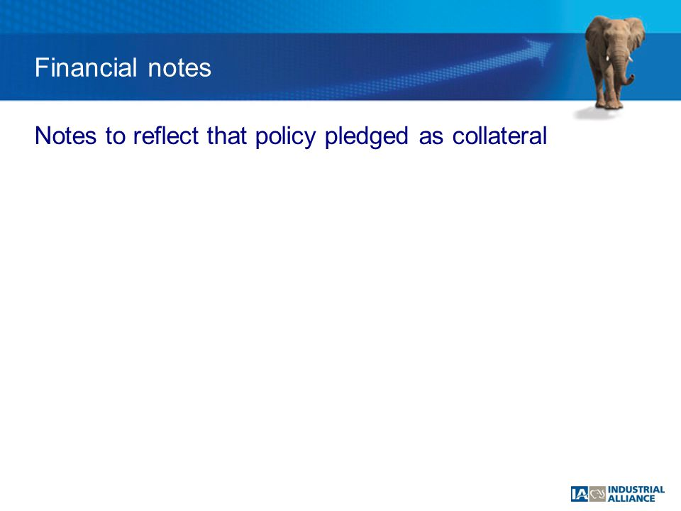 Financial notes Notes to reflect that policy pledged as collateral