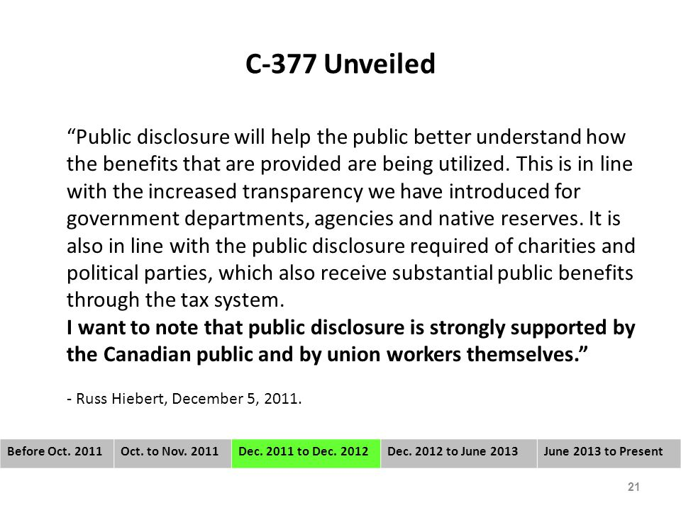 C-377 Unveiled Public disclosure will help the public better understand how the benefits that are provided are being utilized.