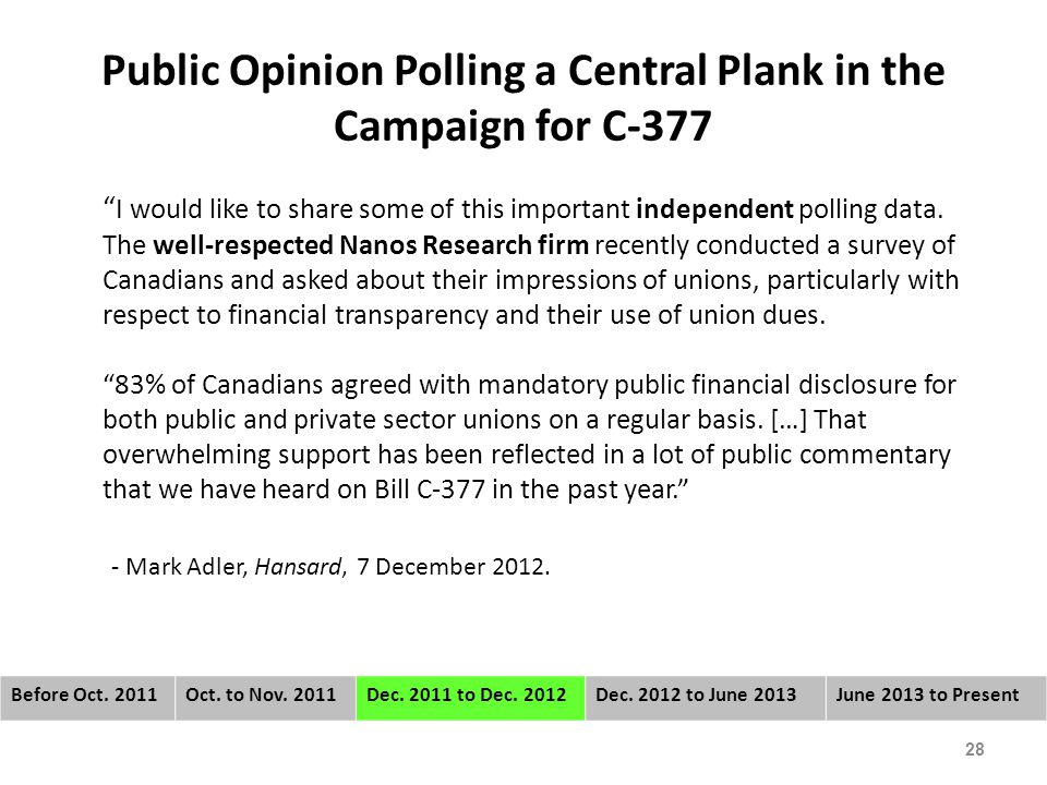 Public Opinion Polling a Central Plank in the Campaign for C-377 I would like to share some of this important independent polling data.
