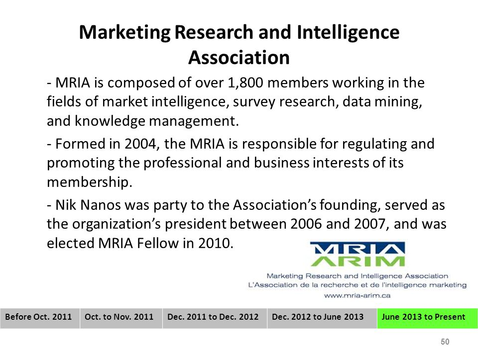 Marketing Research and Intelligence Association - MRIA is composed of over 1,800 members working in the fields of market intelligence, survey research, data mining, and knowledge management.