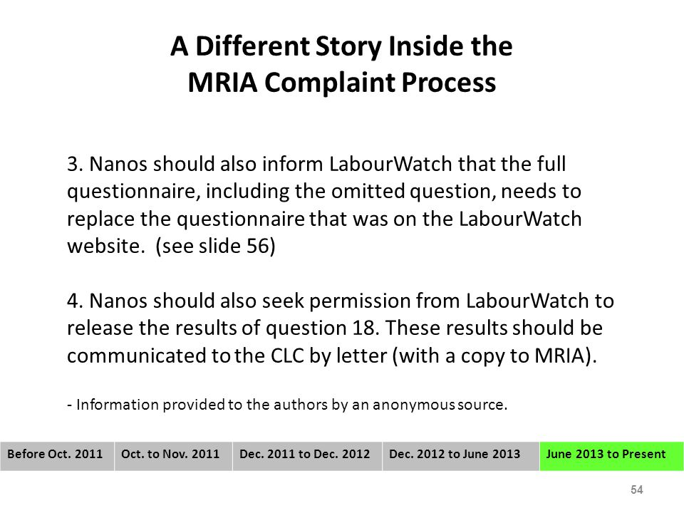 A Different Story Inside the MRIA Complaint Process 3.