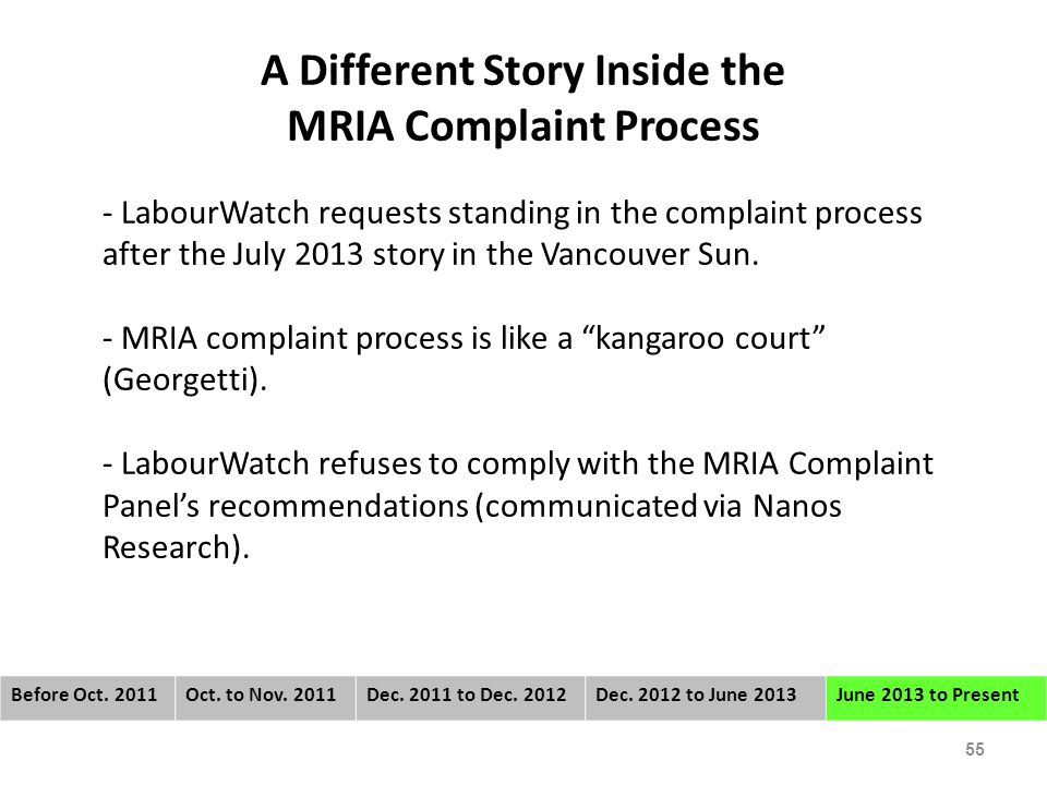 A Different Story Inside the MRIA Complaint Process - LabourWatch requests standing in the complaint process after the July 2013 story in the Vancouver Sun.