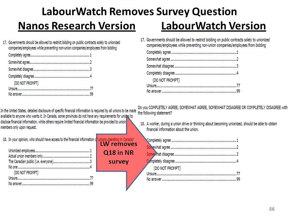 LabourWatch Removes Survey Question Nanos Research Version LabourWatch Version 56 LW removes Q18 in NR survey