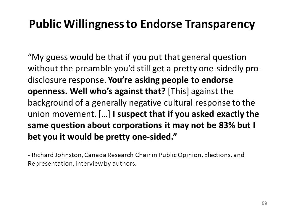 Public Willingness to Endorse Transparency 59 My guess would be that if you put that general question without the preamble you'd still get a pretty one-sidedly pro- disclosure response.