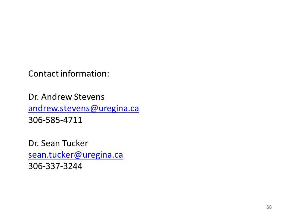Contact information: Dr. Andrew Stevens andrew.stevens@uregina.ca 306-585-4711 Dr.