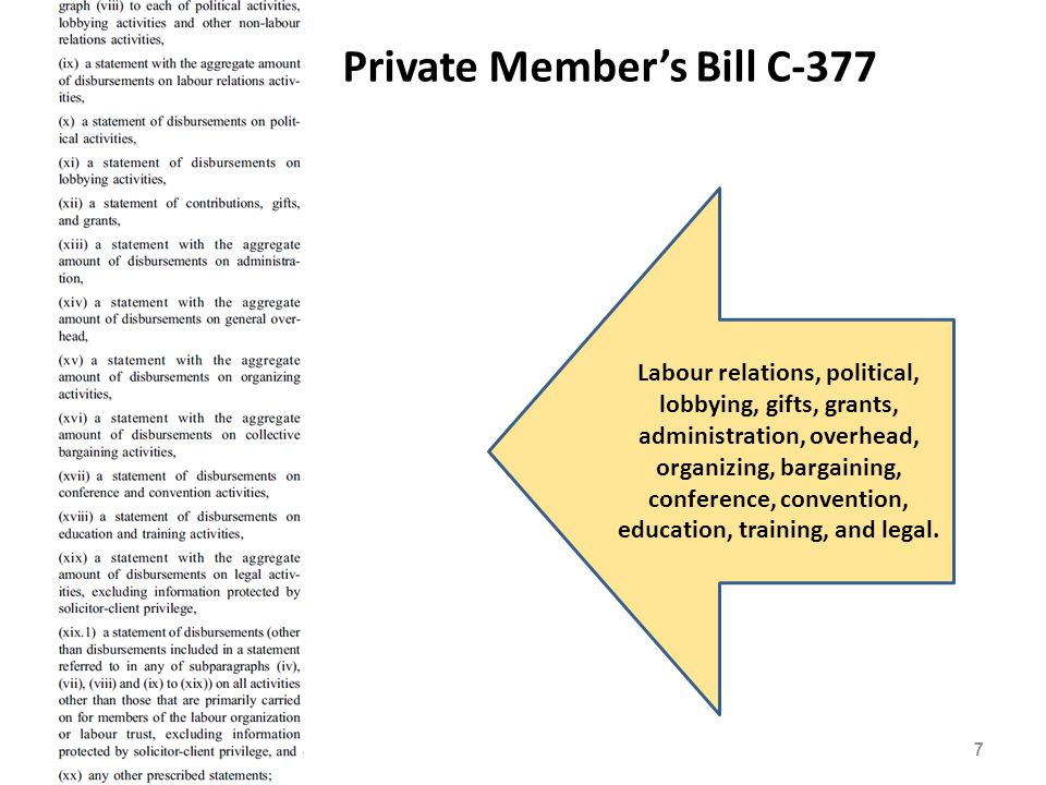 Private Member's Bill C-377 7 Labour relations, political, lobbying, gifts, grants, administration, overhead, organizing, bargaining, conference, convention, education, training, and legal.