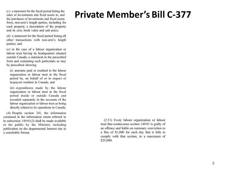 Support for C-317 Your bill is particularly timely, in fact, given that a recent Nanos Research poll found that 83 per cent of working Canadians believe that the law should require both public and private sector unions to be financially transparent with the public. - Canadian Federation of Independent Businesses.