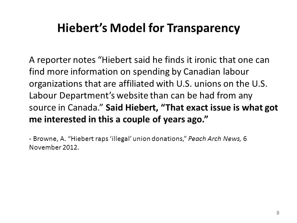 Hiebert Touts New LabourWatch Poll 60 The South-Surrey-White Rock-Cloverdale MP said the poll of 1,400 working Canadians – conducted in July and August for what he termed the non-partisan Canadian LabourWatch Association – shows a broad public consensus on the need for financial transparency by labour unions. - Alex Browne, Hiebert touts poll support, Peace Arch News, 4 November 2013.