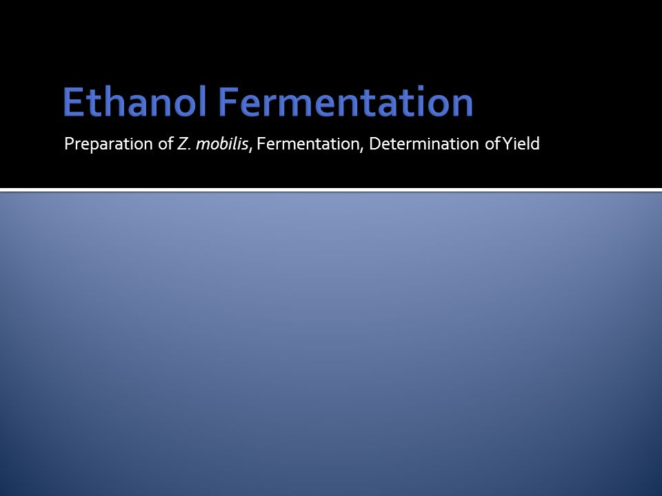 Preparation of Z. mobilis, Fermentation, Determination of Yield
