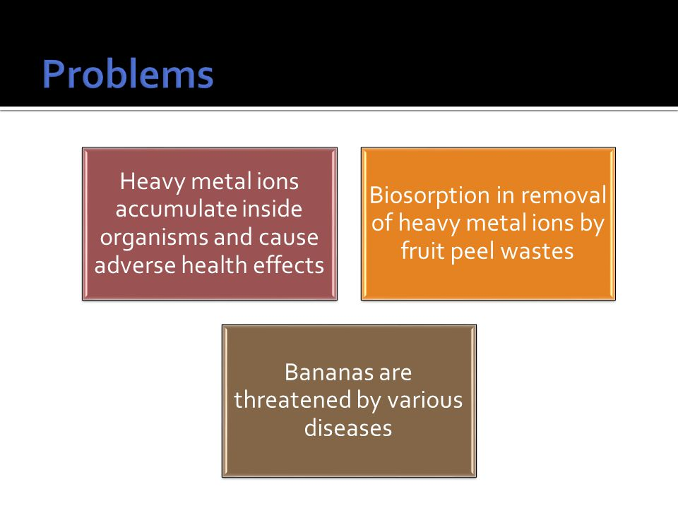 Heavy metal ions accumulate inside organisms and cause adverse health effects Biosorption in removal of heavy metal ions by fruit peel wastes Bananas are threatened by various diseases