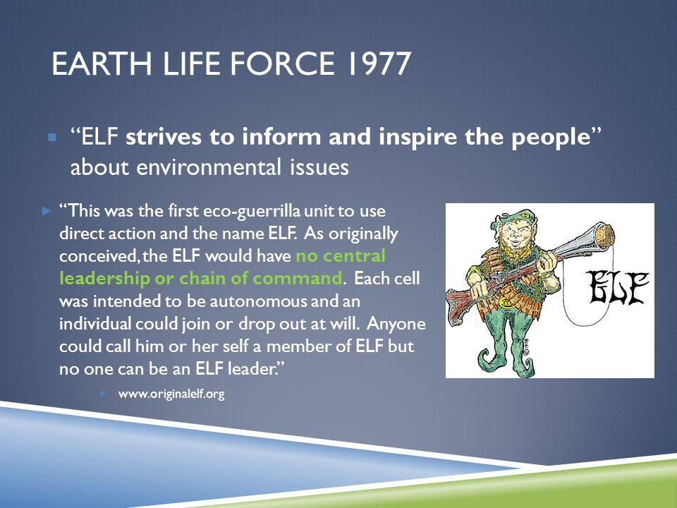 EARTH LIFE FORCE 1977  This was the first eco-guerrilla unit to use direct action and the name ELF.