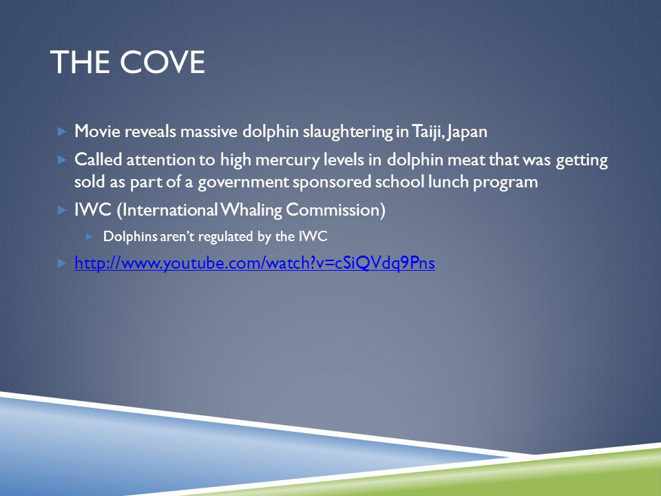 THE COVE  Movie reveals massive dolphin slaughtering in Taiji, Japan  Called attention to high mercury levels in dolphin meat that was getting sold as part of a government sponsored school lunch program  IWC (International Whaling Commission)  Dolphins aren't regulated by the IWC  http://www.youtube.com/watch v=cSiQVdq9Pns http://www.youtube.com/watch v=cSiQVdq9Pns