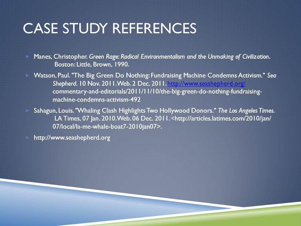 CASE STUDY REFERENCES  Manes, Christopher.