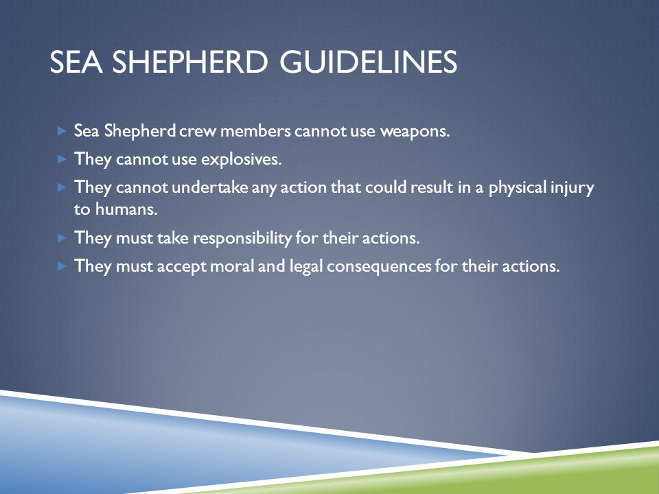 SEA SHEPHERD GUIDELINES  Sea Shepherd crew members cannot use weapons.