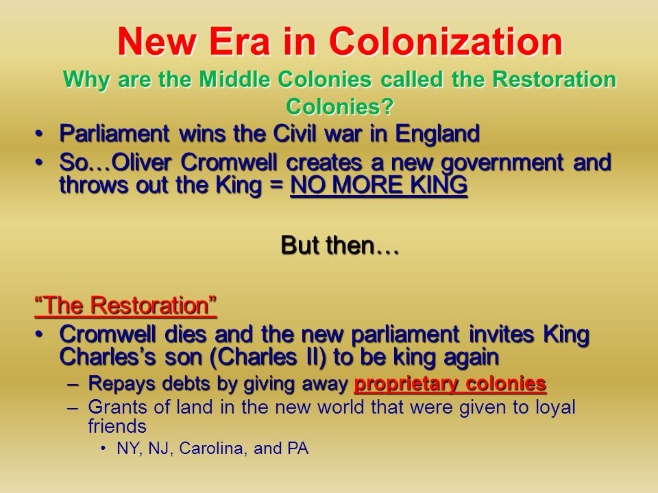 Settling the Middle [or Restoration ] Colonies Dutch and English Who settled in the Middle Colonies?