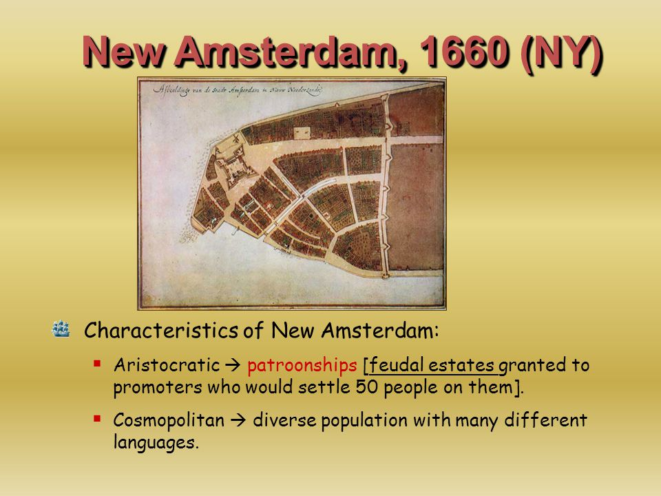 New Amsterdam, 1660 (NY) Characteristics of New Amsterdam:  Aristocratic  patroonships [feudal estates granted to promoters who would settle 50 peop
