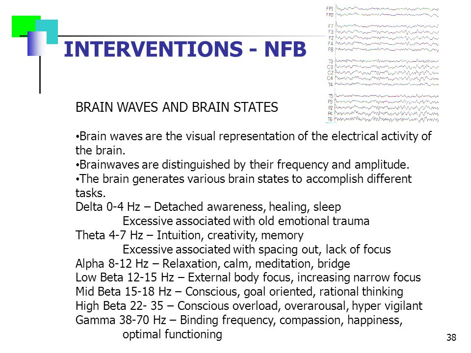 INTERVENTIONS - NFB 38 BRAIN WAVES AND BRAIN STATES Brain waves are the visual representation of the electrical activity of the brain. Brainwaves are