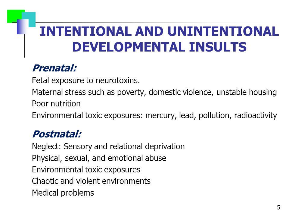INTENTIONAL AND UNINTENTIONAL DEVELOPMENTAL INSULTS Prenatal: Fetal exposure to neurotoxins.
